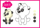 Cute panda. Cartoon vector character isolated on a white background with black outline. elements for kid coloring book