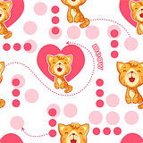 Seamless pattern with cute cartoon cat and heart. Baby pattern.