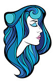Vector decorative portrait of beauty woman with blue long hair i