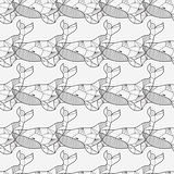 Seamless sea pattern with hand drawn whales