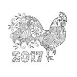 Stylish cock, or rooster and number 2017