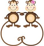 Couple of cute monkeys shaped heart of tails