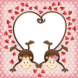 Couple of monkeys shaped heart of tails scrapbook frame