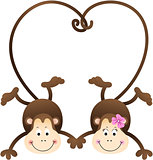 Couple of monkeys shaped heart of tails