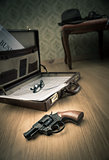 Detective briefcase on the floor