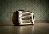 Vintage radio on the floor