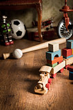 Wooden train in children's room