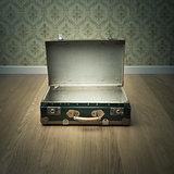 Open vintage suitcase
