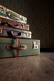 Stack of vintage suitcases