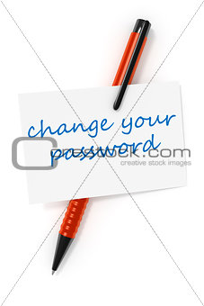 business card a ball pen and the text change your password