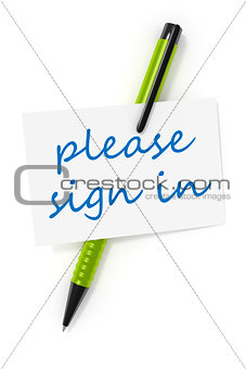 business card a ball pen and the text please sign in