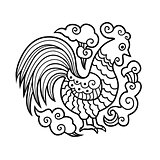 Graphic image of Cock, or rooster in round composition.