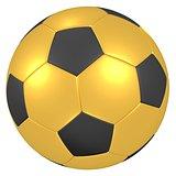 gold soccer ball 3D illustration