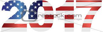 2017 USA Flag Numbers Outline Illustration