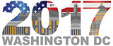 2017 America Flag Washington DC Outline Illustration