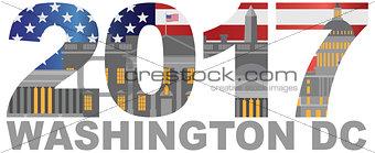2017 America Flag Washington DC Outline Illustration