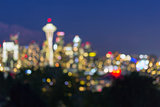 Seattle Washington City Skyline at Dusk Out of Focus Bokeh