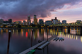 Portland City Skyline Along Willamette River at Dusk