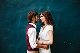 Loving multinational wedding couple