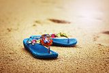 Beach flip flops on tropical sandy coast