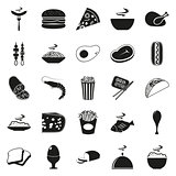 Simple black style Food Icon Set