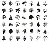 Tree symbol or icon set monochrome