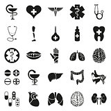 Simple black medical icon set on white