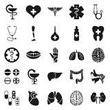 Simple black medical icon set on white