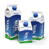 Milk carton packs isolated on white. Milk boxes.