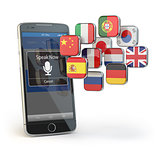 Mobile dictionary or translator concept . Learning languages onl