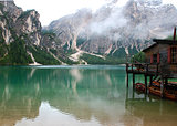 Hut on the Lake Braies on The Dolomite Mountains in Italy