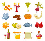 Cartoon flat vector illustration of icons for Jewish new year holiday Rosh Hashanah.