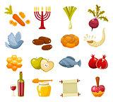 Cartoon flat vector illustration of icons for Jewish new year holiday Rosh Hashanah.
