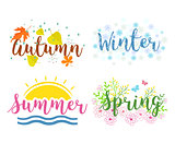 Seasons the lettering isolated on a white background