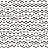 Vector Seamless Black and White Irregular Rhombus Grid Pattern
