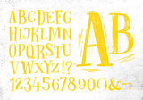Pencil font yellow alphabet