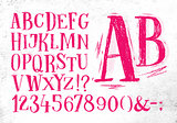Pencil font pink alphabet