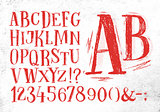 Pencil font red alphabet