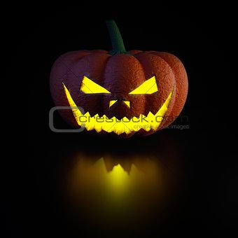 3d illustration pumpkin lamp