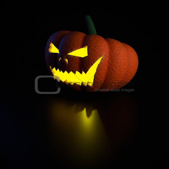 3d illustration pumpkin lamp