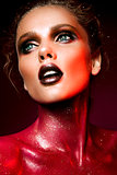 Woman with red make up