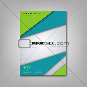 Brochures book or flyer with abstract blue green triangles template
