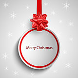 Christmas card with red round sign pointer template