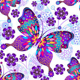 Seamless pattern with vintage butterflies