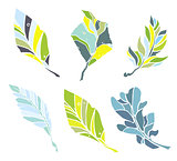 Sketch leaves elements set