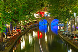 Night Oudegracht and bridge, Utrecht, Netherlands