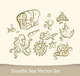 Sea doodle set  isolated on white background. Vector
