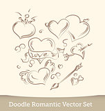 Valentine Doodles set  isolated on white background. Vector