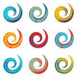 Colorful spiral vector brush strokes