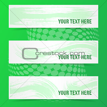 Green vector banners with brush strokes